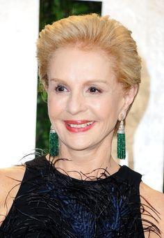 Carolina Herrera wears emerald tassel earrings with diamond posts at the 2012 Vanity Fair Oscar Party.