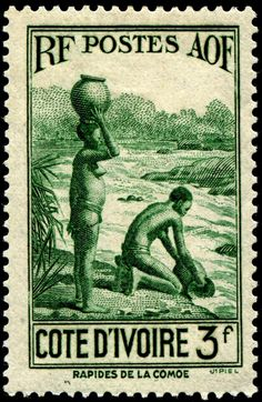 Women fetching water at the rapids on the Comoe River, designed and engraved by Jules Piel, and issued for use in Ivory Coast on October 19, 1936, Scott No. 148.