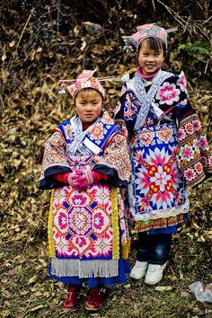 Asia | Two Miao girls,Guizhou Guiyang Shihana River District, China