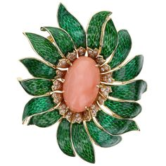Van Cleef & Arpels Enamel Coral Diamond Flower Pendant/Brooch | From a unique collection of vintage brooches at https://www.1stdibs.com/jewelry/brooches/brooches/
