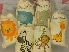 "Muslin Cotton Bags Baby Shower, Birthday Baby Jungle Animals Favor, Treat or gift Personalized 5""x 7"" Qty 6"