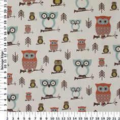 Owls on Ivory Duck Cotton Fabric
