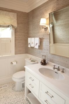 grasscloth go to website. they show another bathroom with grasscloth above horizontal wood panelling.to 2 feet from ceiling then the top is grasscloth ! Wainscoting Bathroom, Bathroom Renos, Small Bathroom, Bathroom Ideas, Bathroom Grasscloth Wallpaper, Bathroom Designs, Bathroom Interior, Seagrass Wallpaper, Lake Bathroom