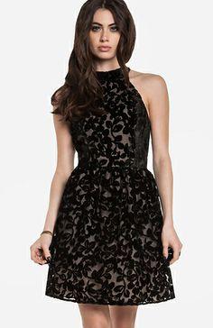 Floral Velvet Fit and Flare Dress