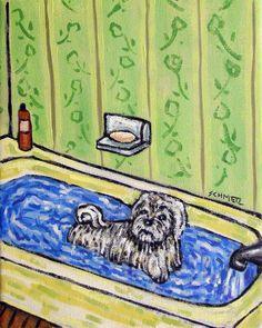 maltese dog bath pet groomer salon 11x14  artist prints animals gift new