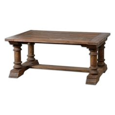 Uttermost saturia wooden coffee table - 24342 ($1,219) ❤ liked on Polyvore featuring home, furniture, tables, accent tables, wood furniture, wood coffee table, weathered wood table, distressed coffee table and wood accent table