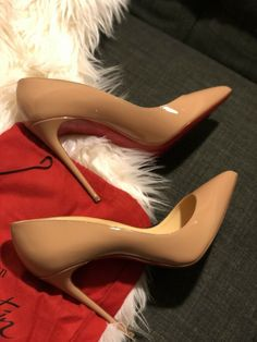 "Christian Louboutin Heels in ""Women's Clothing, Shoes and Heels"" Patent Heels, Nude Pumps, Patent Leather Pumps, Black Pumps, Stiletto Heels, Pump Shoes, Shoes Heels, Christian Louboutin So Kate, Red Sole"