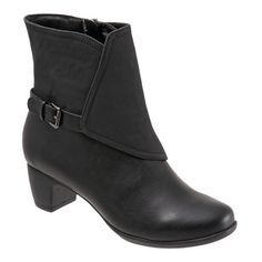 Women's Trotters 'stormy' Waterproof Bootie ($100) ❤ liked on Polyvore featuring shoes, boots, ankle booties, black faux leather, ankle bootie boots, bootie boots, black booties, short black boots and short boots