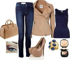 Blue n tan outfit Cute Fashion, Fashion Looks, Fashion Ideas, Fashion Pics, High Fashion, Fall Outfits, Cute Outfits, Jean Outfits, Casual Outfits