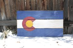Handmade Wooden Colorado Flag Sign.