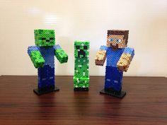 3D Minecraft Zombie, Creeper and Steve perler beads by Cooks Crafts Hama Beads Design, Hama Beads Patterns, Beading Patterns, Hama Minecraft, Minecraft Crafts, Perler Bead Art, Perler Beads, Beaded Angels, Nerd Crafts