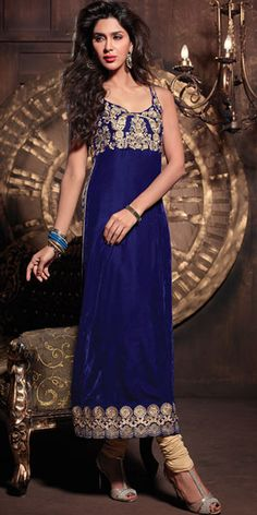 Dazzling Blue Velvet Maisha Long salwar suit with the embroidery golden yoke and lace work with the matching dupatta.