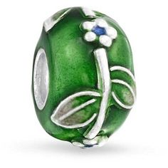 Bling Jewelry Green Thumb Floral Enamel Charm Bead .925 Sterling... (19 CAD) ❤ liked on Polyvore featuring jewelry, pendants, green, charm pendants, bead charms, graduation charms, sterling silver charms and sterling silver leaf charm
