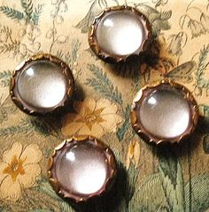Vintage glove buttons a set of 4 domed glass by TheLadyatSkiers