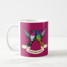 #personalize - #Two Colorful Hovering Hummingbird Friends Cartoon Coffee Mug