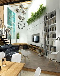white living room black sofa