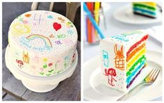 Trend Alert: Doodle Cakes & Cake Bars from contributor Tonya Coleman of Soiree Event Design :) Cake Bars, Beautiful Cakes, Amazing Cakes, Cake Cookies, Cupcake Cakes, Cake Original, Doodle Cake, Rainbow Birthday, Savoury Cake