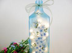 Blue Lighted Liquor Bottle Hydrangea Roses Hand Painted
