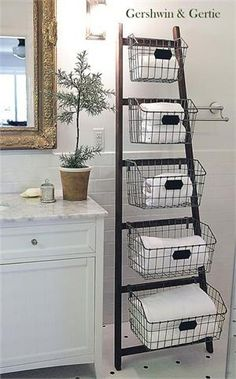 Vintage Home Wood Ladder with 5 Wire Baskets - Why We Love It Who ever said ladders are for climbing? Our stylish metal ladder with wire baskets is cute, creative and perfect for those looking for extra storage. Diy Storage Ladder, Ladder Decor, Extra Storage, Storage Ideas, Storage Solutions, Ladder Shelves, Storage Design, Creative Storage, Creative Ideas