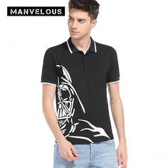 Manvelous Hem Print T-Shirt Mens 2017 Fashion Casual Solid Nylon Loose Men Brand Clothing Half Sleeve Black & White T-Shirts   #Affiliate