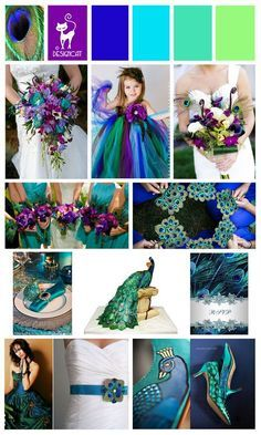 Weddbook ♥ peacock decor is bright,original and it looks very well with many colors and themes.There are many ways to integrate the peacock theme into the wedding decor.look at these fantastic flower girl dress, peacock designs and other accessories. Peacock Wedding Colors, Peacock Color Scheme, Peacock Colors, Wedding Color Schemes, Purple Wedding, Dream Wedding, Wedding Day, Peacock Themed Wedding, Peacock Decor