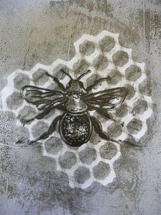 Sandra Pearce: I've BEEn gelli plate printing.... http://sandrapearce.blogspot.com.au monoprint using gelli plate and stamp