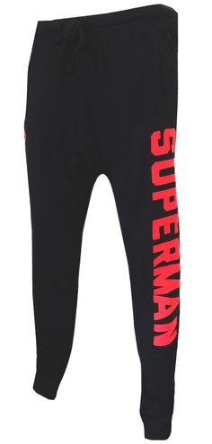WebUndies.com Dc Comics Superman Logo Black Jogger Pants