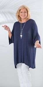 Plus size Join Clothes navy round neck knitted top