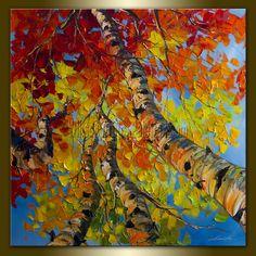 Original Tree Seasons Landscape Painting Oil on Canvas Textured Palette Knife Abstract Modern Art