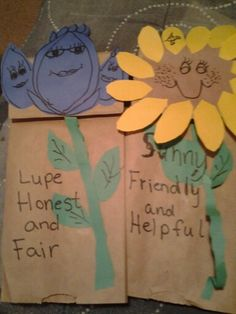 Girl Scout Daisy Law Craft-Making brown paperbag puppets for each part of The Girl Scout Law- to help Girls learn law on back we wrote ways they uphold that part of the law- then going to put on puppet show for parents! Fast easy & girls love the idea of a puppet show.