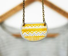 Grey and mustard winter pattern necklace - One of a kind hand painted piece -  Whimsical jewellery