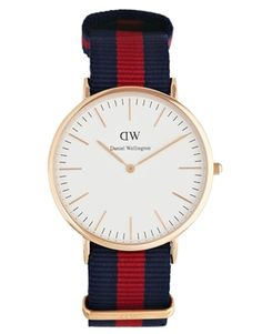 Daniel Wellington Oxford Rose Gold Canvas Strap Watch