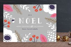Bold Noel Holiday Non-Photo Cards by Carolyn MacLaren at minted.com