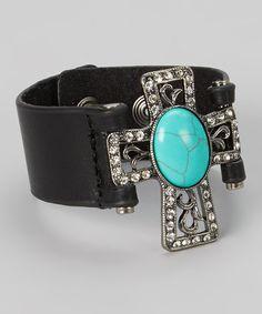 Turquoise & Rhinestone Cross Black Leather Bracelet