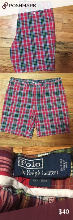 """Polo by Ralph Lauren plaid shorts. Men's 40 T. Polo by Ralph Lauren plaid shorts. Men's 40 T.  Perfect!!  10"""" inseam. Smoke and pet free home.  Bundle and save! Polo by Ralph Lauren Shorts Flat Front"""