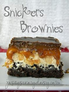 Snickers Brownies: Boxed brownie mix + ingredients + 1/4 cup hot fudge topping. NUGGET: 1/4 cup unsalted butter, 1 cup sugar, 1/4 cup evaporated milk, 2 (7 oz.) jars marshmallow creme, 1/4 cup peanut butter, 1 1/2 cups peanuts, 1 tsp vanilla. Jar of Caramel Topping. TOPPING: 1 1/4 cups chocolate chips, 1/4 cup peanut butter.
