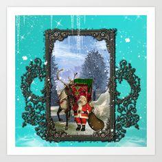 Santa Claus with reindeer Art Print by Reindeer, Santa, Art Prints, Frame, Christmas, Painting, Decor, Art Impressions, Yule
