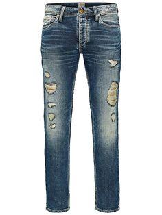 JACK & JONES VINTAGE CLOTHING - Jeans von VINTAGE in bequemer Passform - Medium rise - Bequemer Oberschenkel- und Knieschnitt - Schmaler Beinabschluss - Eingriff mit Knopfverschluss - Indigo-Strick ist eine Vereinigung aus Denim und Sportswear-Strick, wodurch ein wahrhaft innovatives Gewebe geschaffen wird, das sich abnutzt und altert wie Denim, dir aber die Flexibilität und die Bequemlichkeit ...