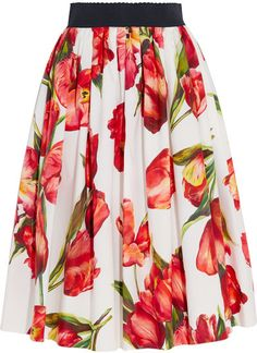 Dolce & Gabbana's tulip-print skirt is cut from crisp cotton-poplin in a universally flattering flared silhouette. This feminine design is fitted with an elasticated waistband for comfort and flexibility. Embrace the label's elegant eclecticism by styling it with a guipure lace top. // Dresses & Skirts #ad