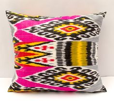 21x19 ikat pillow cover bright pink gray yellow pillow by SilkWay