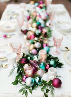 Pretty Christmas tablescape with colorful ball ornament runner