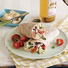 Greek-Style Chicken Wraps | Cooking Light #myplate #protein #fruit #veggies #wholegrains #dairy