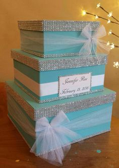 Card box three tier large square card box perfect for a wedding baby shower bridal shower or birthday party Wedding Gift Card Box, Gift Card Boxes, Wedding Boxes, Wedding Cards, Diy Wedding, Wedding Stuff, Tiffany Theme, Tiffany Party, Tiffany Wedding