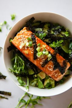Asian Salmon Bowls – wild salmon over brown rice and cucumbers with a soy-wasabi dressing – healthy and DELICOUS!