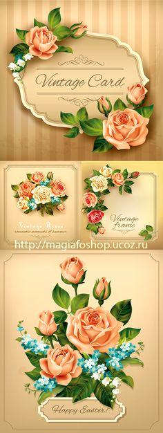 Блог Колибри: Vintage card with roses