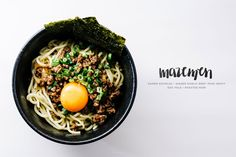 Mazemen: a broth-less ramen topped with soy garlic ginger fried beef, miso gravy, green onions, roasted nori and an egg.