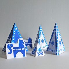 Inya Greetings Card Set in Blue Christmas Cards, Xmas, Table Tents, Tent Cards, Restaurant Branding, First Birthdays, Nativity, Easy Diy, Cards