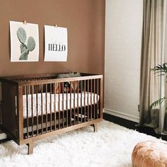 Our Walnut Sparrow Crib making an appearance in this amazing nursery ❤️ thanks @katiemonkhousecreative!