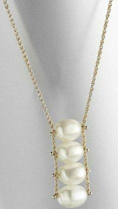 .Colgante de perlas / Pearl pendant | Aros | Pinterest | Pearl pendant, Classic style and Classic