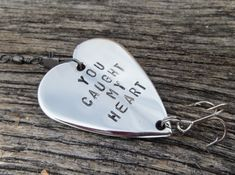 Personalized Fishing Lure Birthday gift for Husband 3rd Anniversary Boyfriend 4th wedding anniversary You Caught My Heart Gift Father Mother